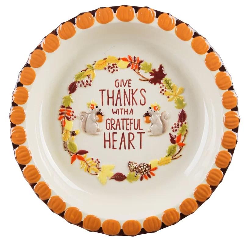Home Essentials and Beyond Pumpkin Embossed Grateful Pie Plate
