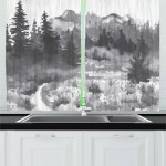 East Urban Home 2 Piece Garden Mist Grayscale Design Watercolor Hand Painted Image Of Forest Kitchen Curtain Set