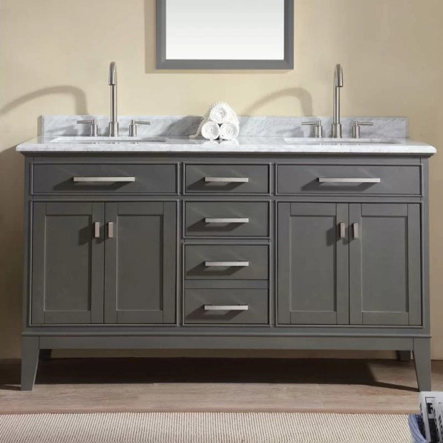 "ari kitchen & bath danny 60"" double bathroom vanity set & reviews"