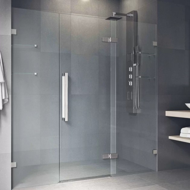 "Seneca Adjustable 72.75"" x 74"" Hinged Frameless Shower Door"