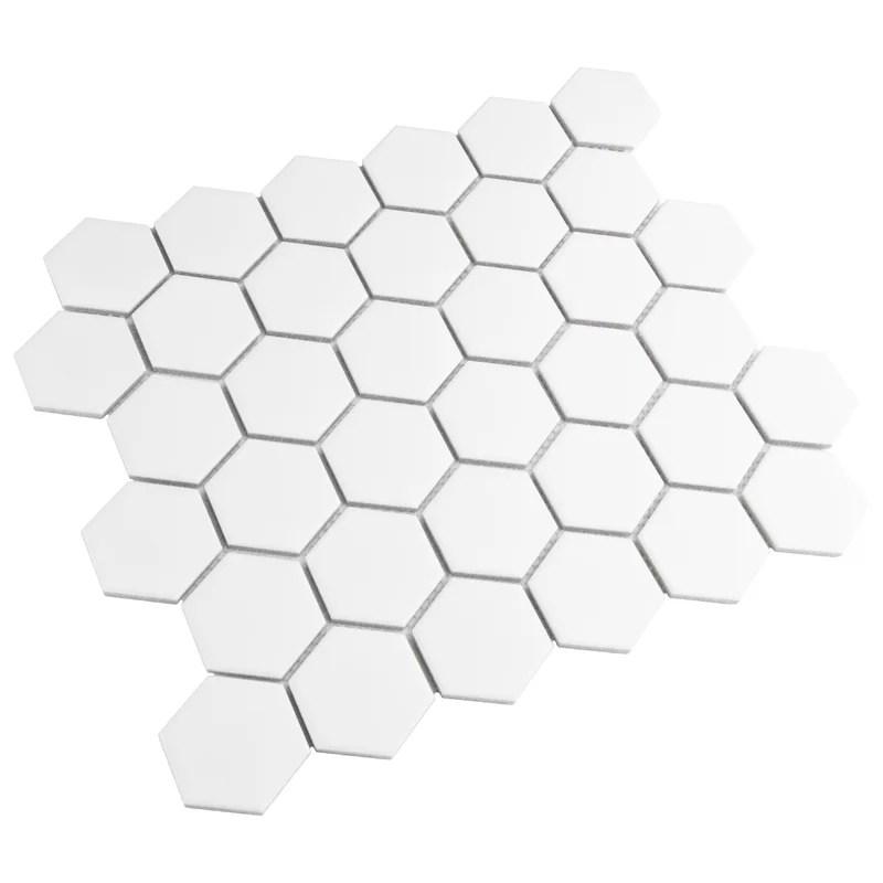 retro 2 x 2 porcelain honeycomb mosaic wall floor tile