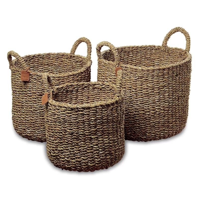 Nature Seagrass 3 Piece Wicker Storage Basket Set