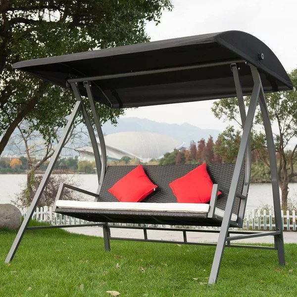 kroeger pe wicker glider outdoor porch swing with stand