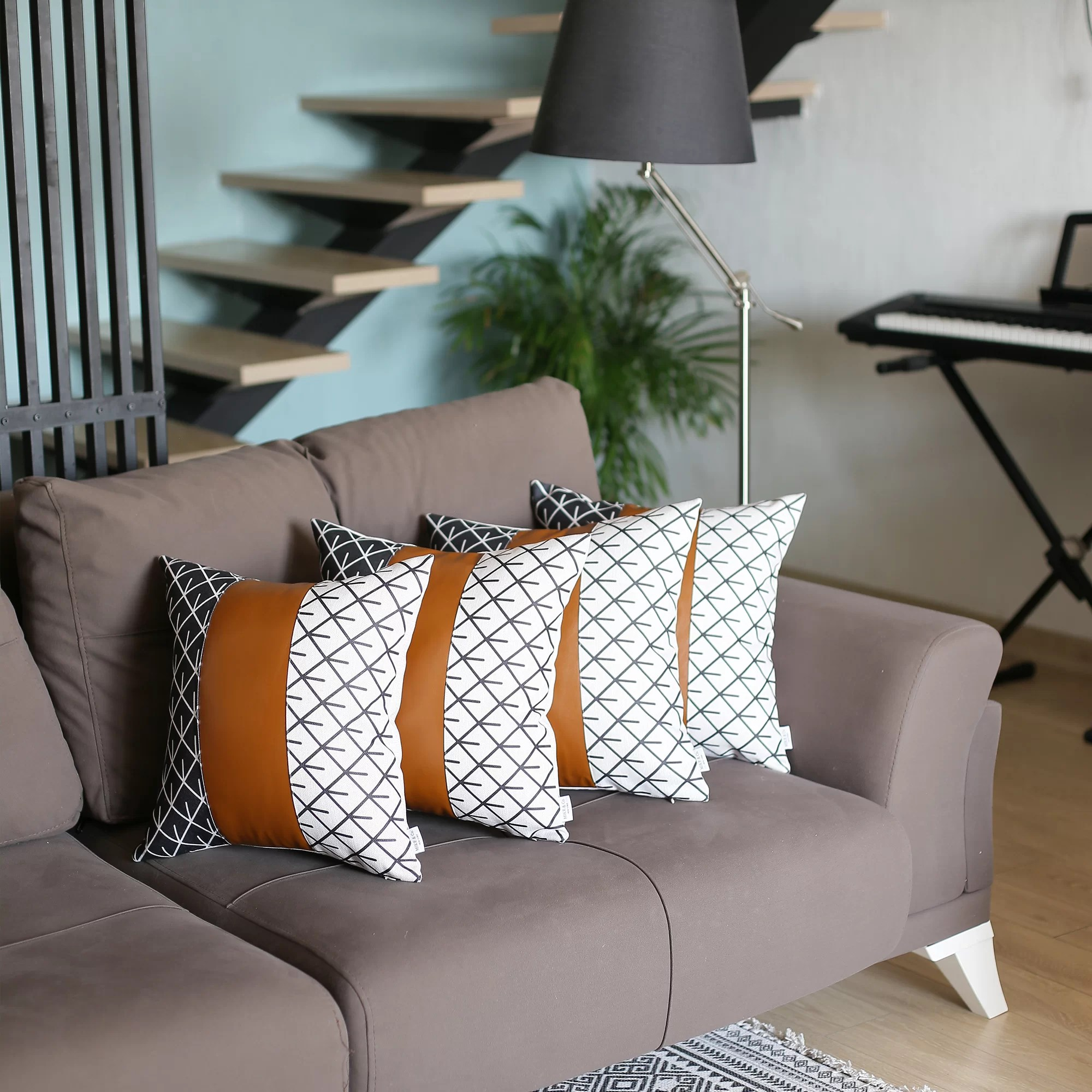 traverso square faux leather pillow cover