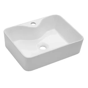 white handmade rectangular vessel bathroom sink