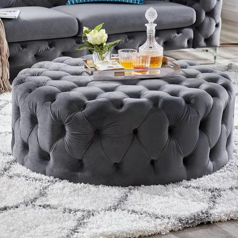 koffler 42 wide velvet tufted round cocktail ottoman