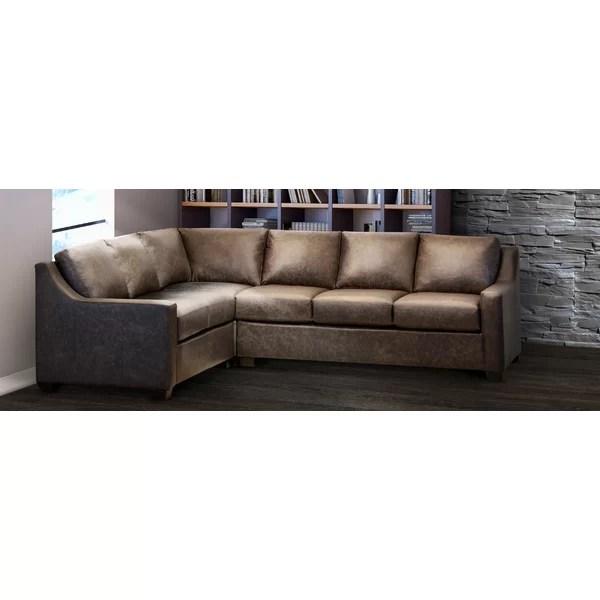 godinne 117 wide genuine leather corner sectional