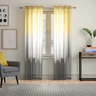 petersen ombre semi sheer grommet single curtain panel
