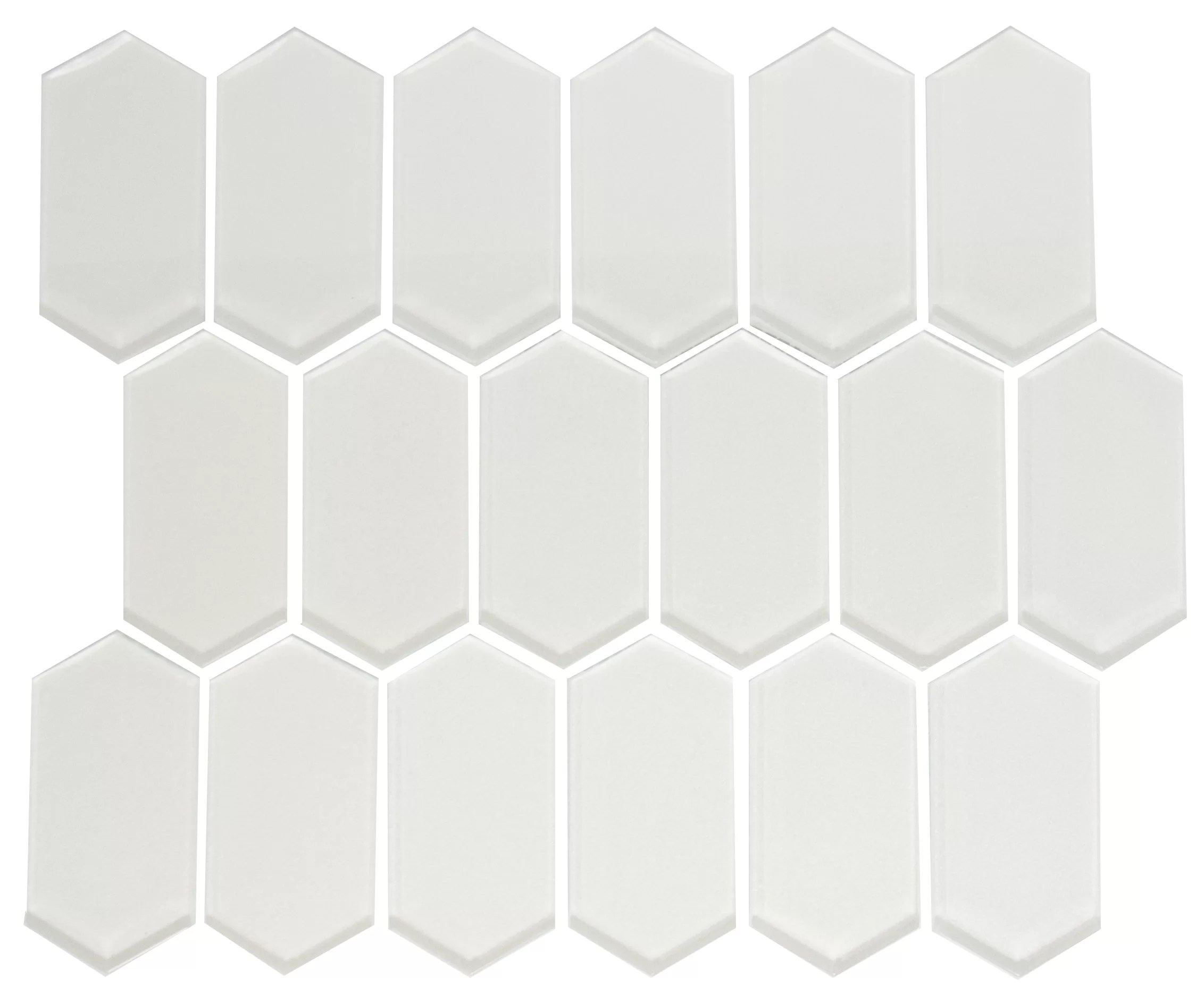 colombier stretched hexagon pearlescent random sized glass mosaic tile