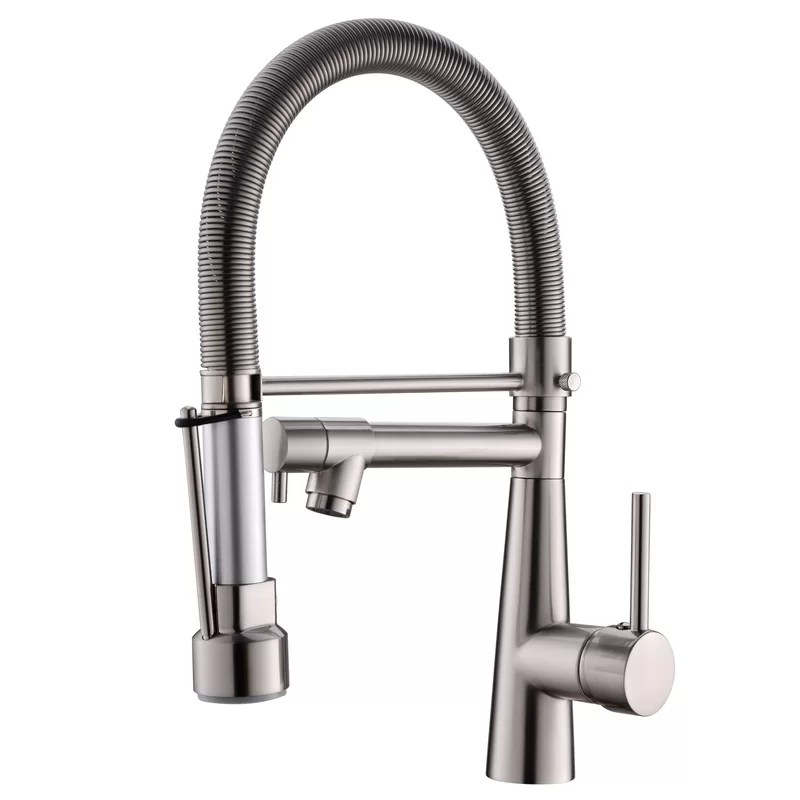 solid brass pull down touch single handle kitchen faucet