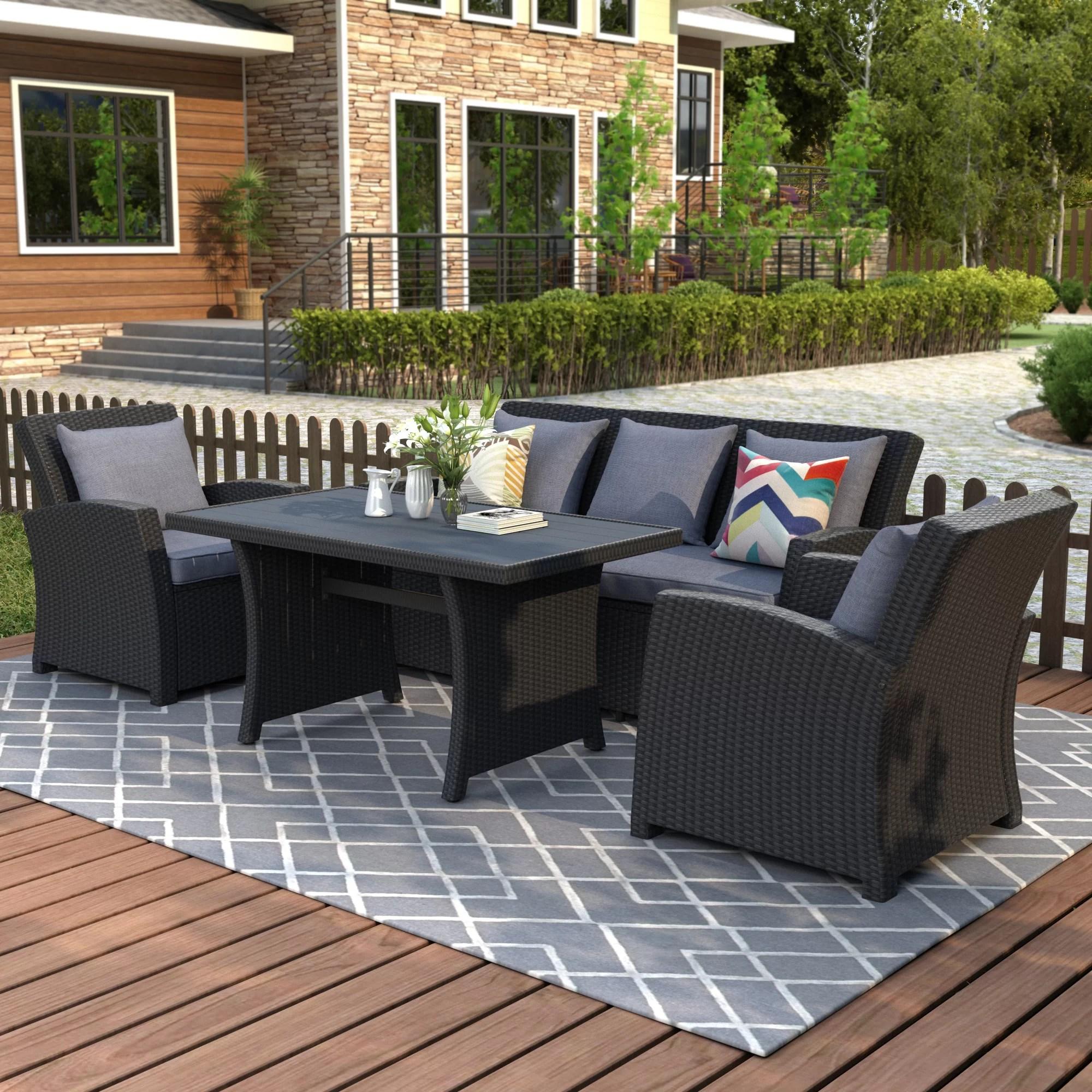 outdoor patio furniture set 4 piece conversation set black wicker furniture sofa set with dark grey cushions