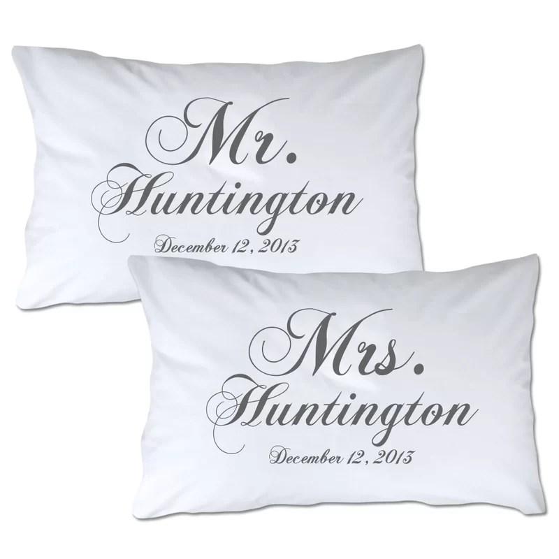 personalized mr mrs pillowcase