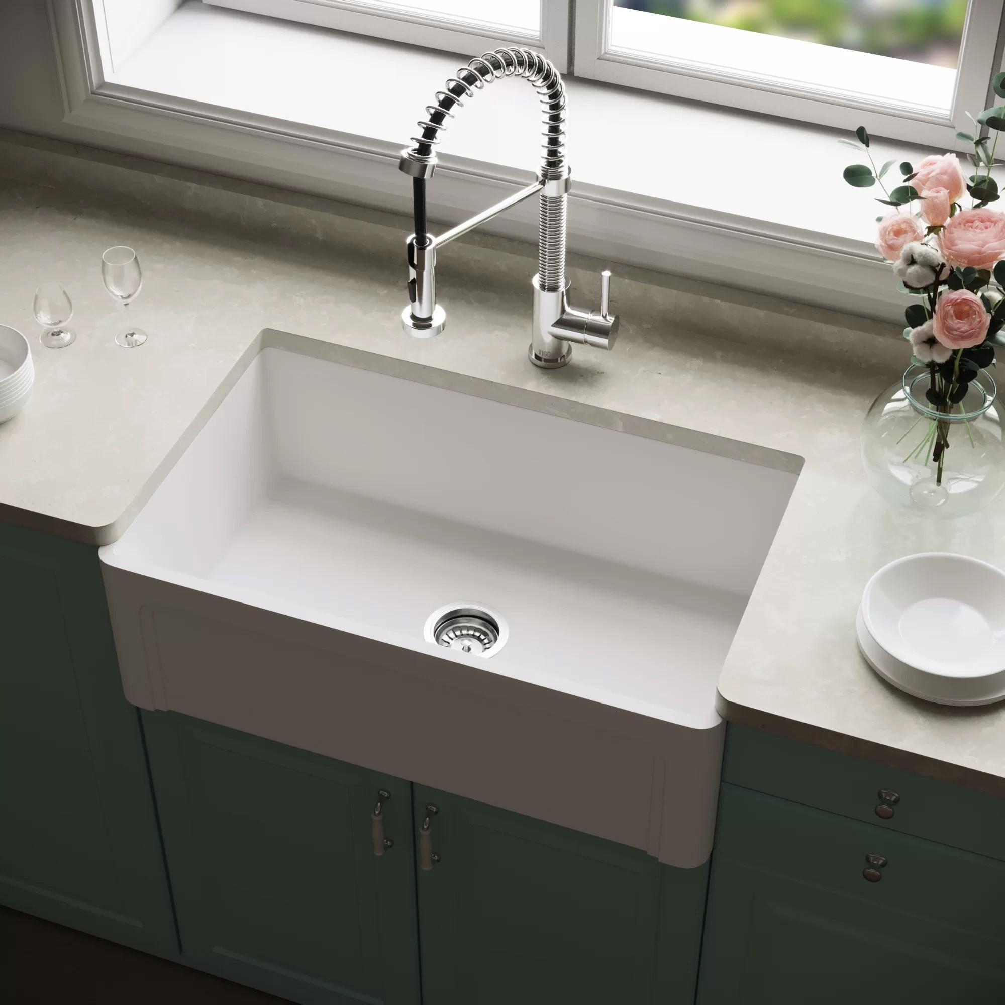 matte stone 30 x 18 farmhouse kitchen sink