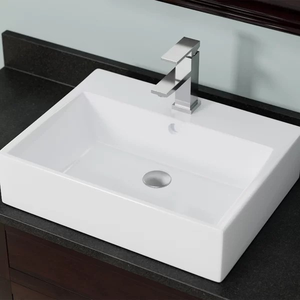 vessel sink with faucet hole