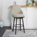 Gracie Oaks Forsan Upholstered Curved Back Swivel Adjustable Height Bar Stool Wayfair