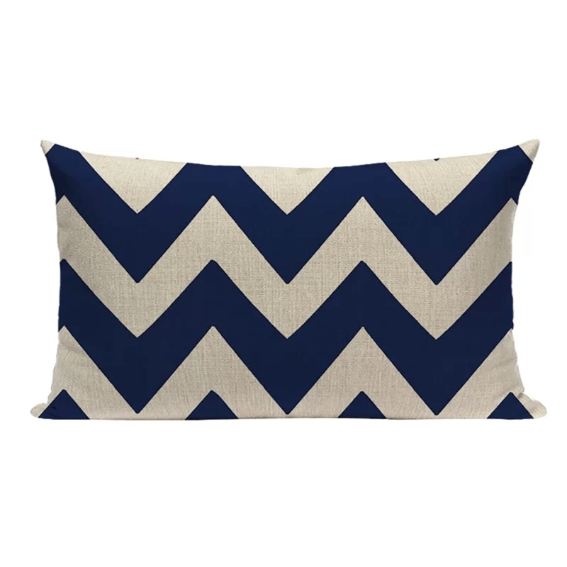 12 x 20 geometric navy blue pillow cover linen geometric pillow cover
