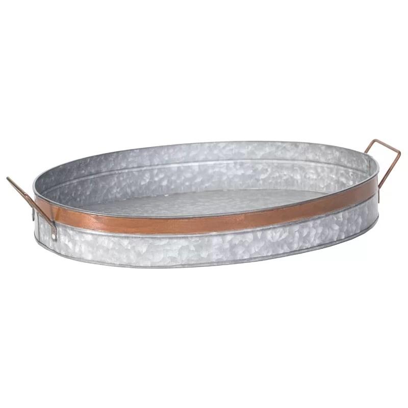 henke galvanized metal oval coffee table tray