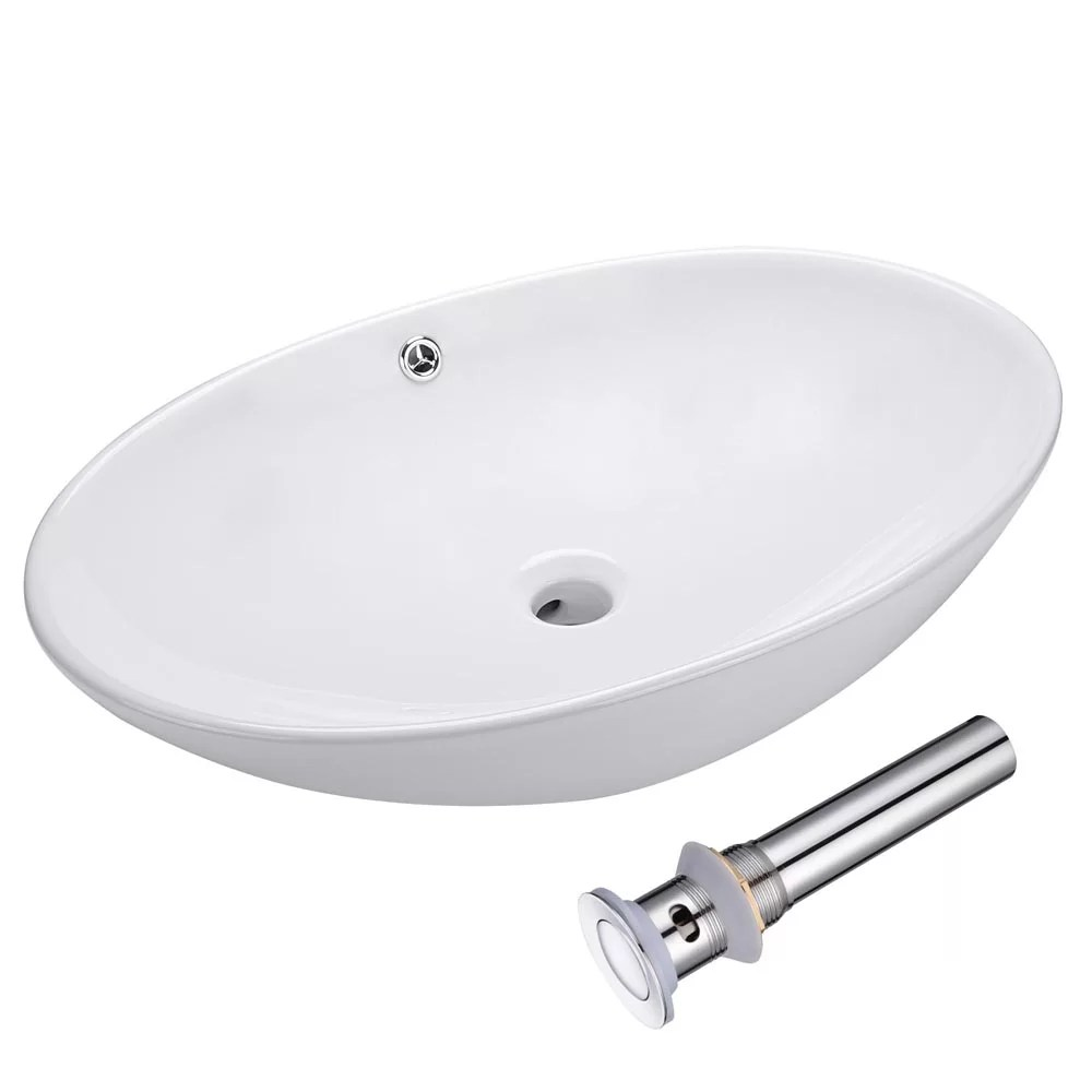 aquaterior oval bathroom vessel sink countertop round porcelain vanity basin bowl with pop up drain overflow white