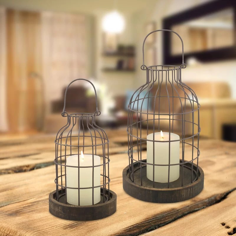 Mirror With Candle Holders Decorative Set