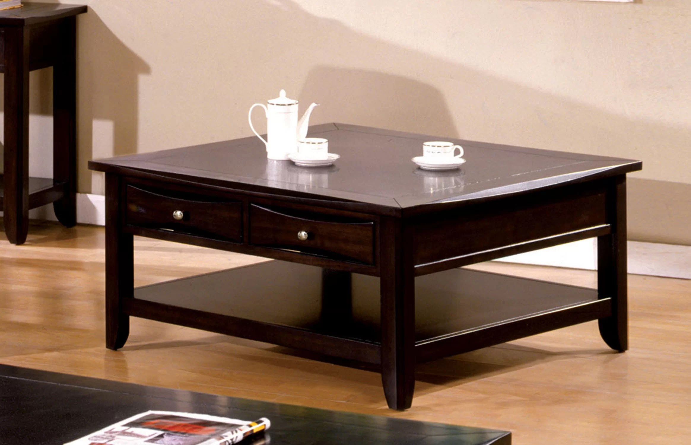 geomar square coffee table with storage