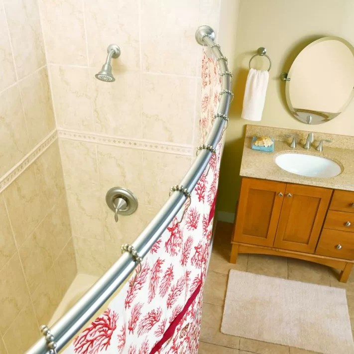 60 curved fixed shower curtain rod