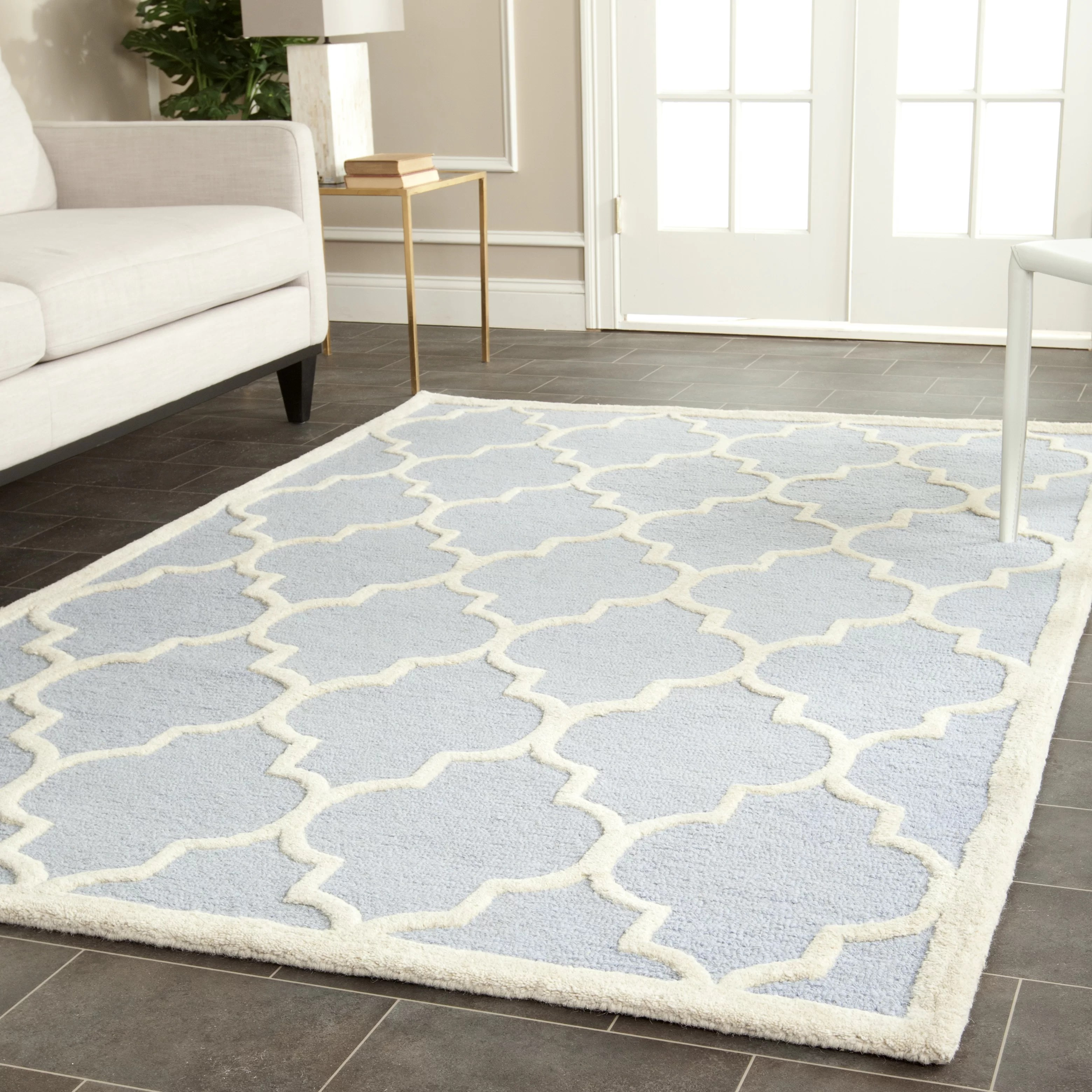 Birch Lane Whitchurch Geometric Hand Tufted Wool Light Blue Ivory Area Rug Reviews Wayfair Ca