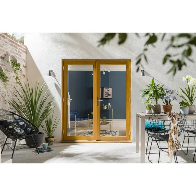 kinsley wood 2 panel ready to install glazed patio door