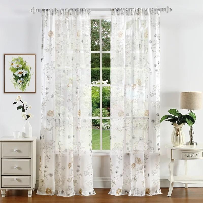 marthas garden floral semi sheer rod pocket single curtain panel