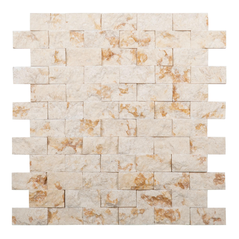 giallo atlantide 2 x 1 travertine mosaic subway tile