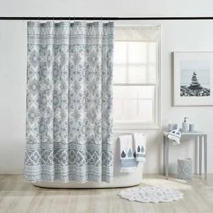 hilaire 100 cotton floral single shower curtain
