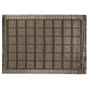 Hand-Knotted Wool/Silk Khaki Area Rug