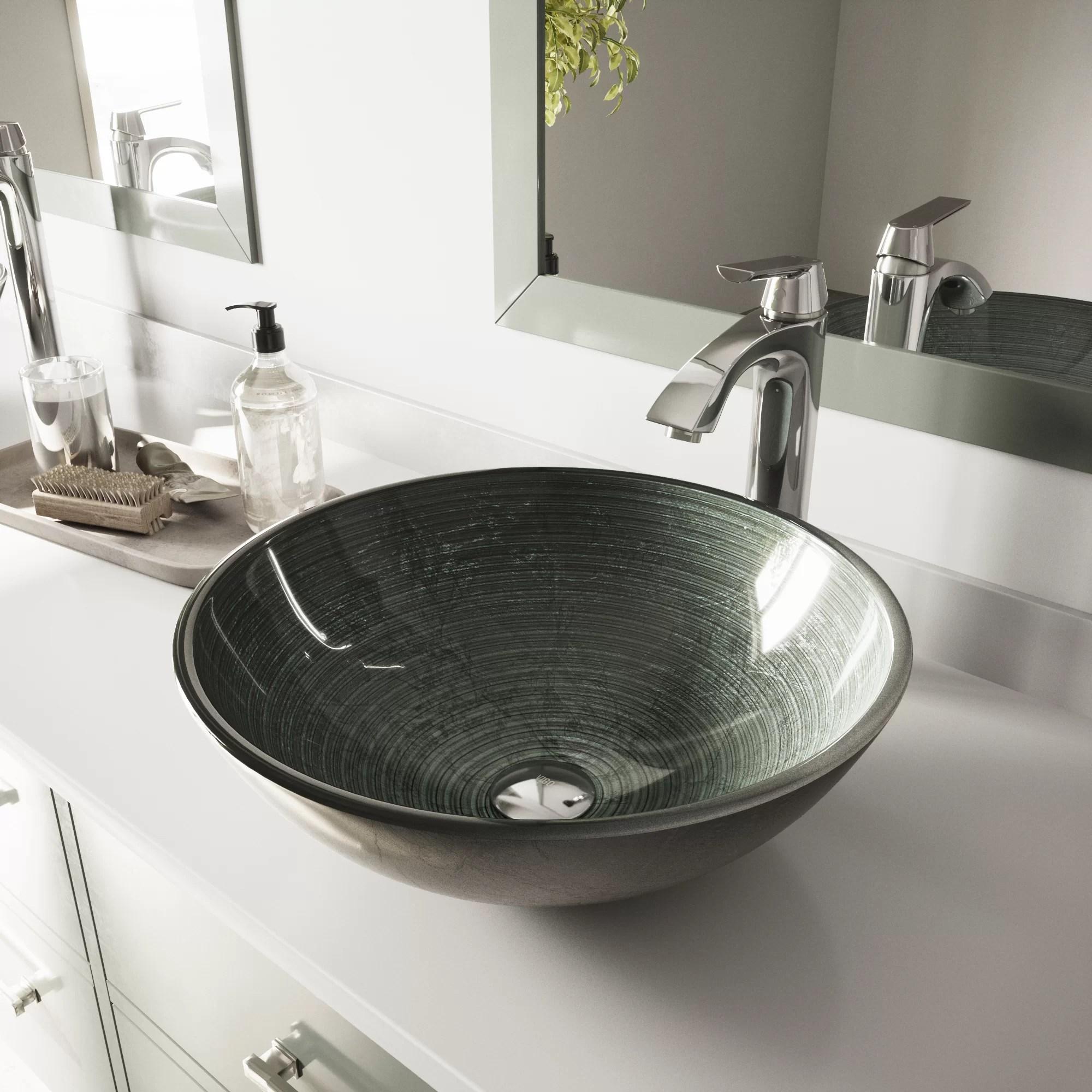 gray tempered glass handmade circular vessel bathroom sink