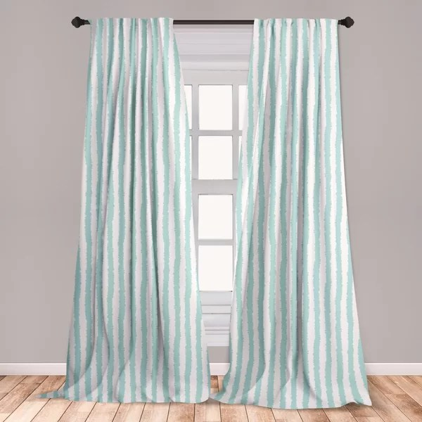 ambesonne aqua curtains vertical striped pattern with sketchy lines hipster and grunge design ikat inspired window treatments 2 panel set for living