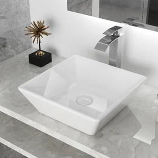 white ceramic handmade square vessel bathroom sink