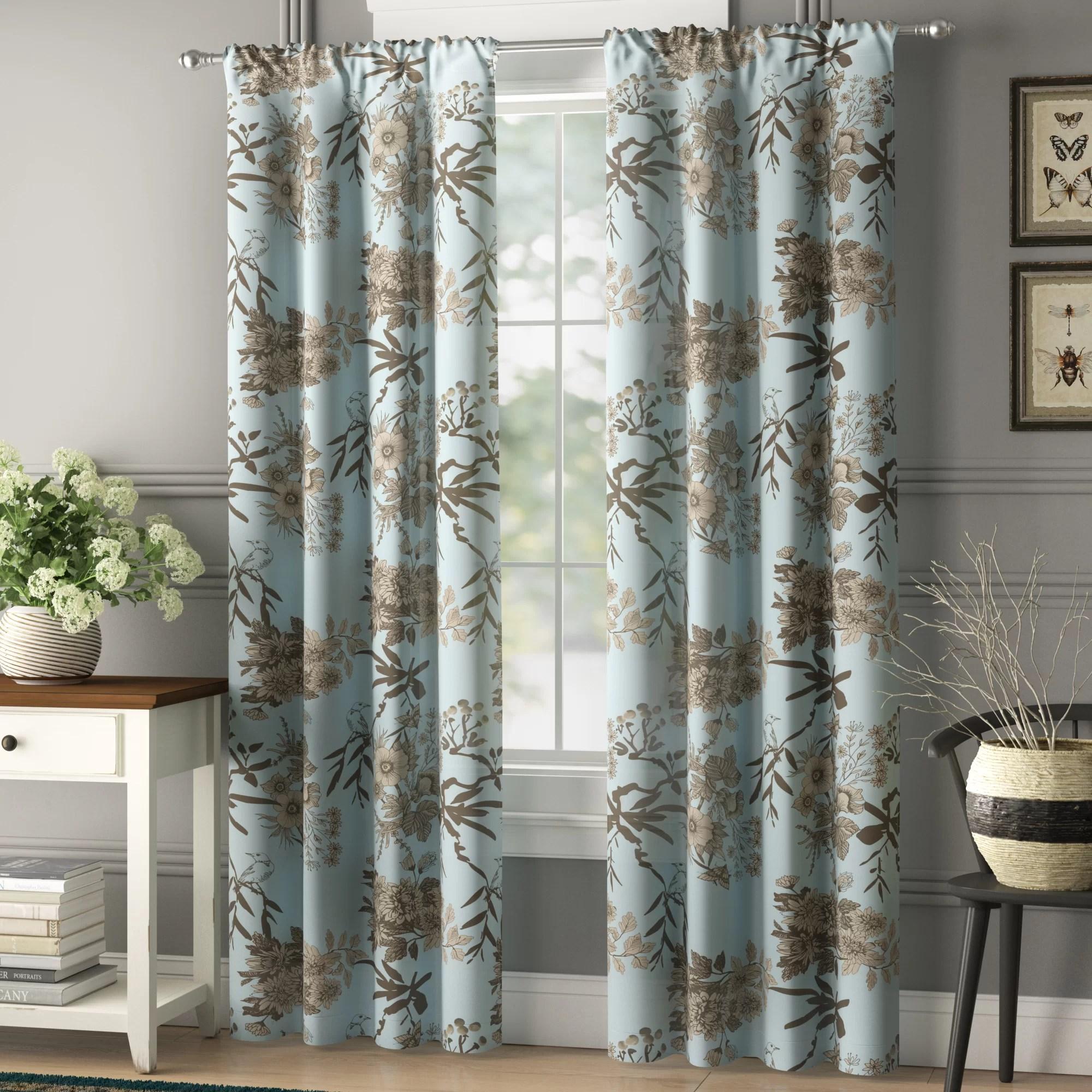 baldvina floral room darkening thermal curtain panels