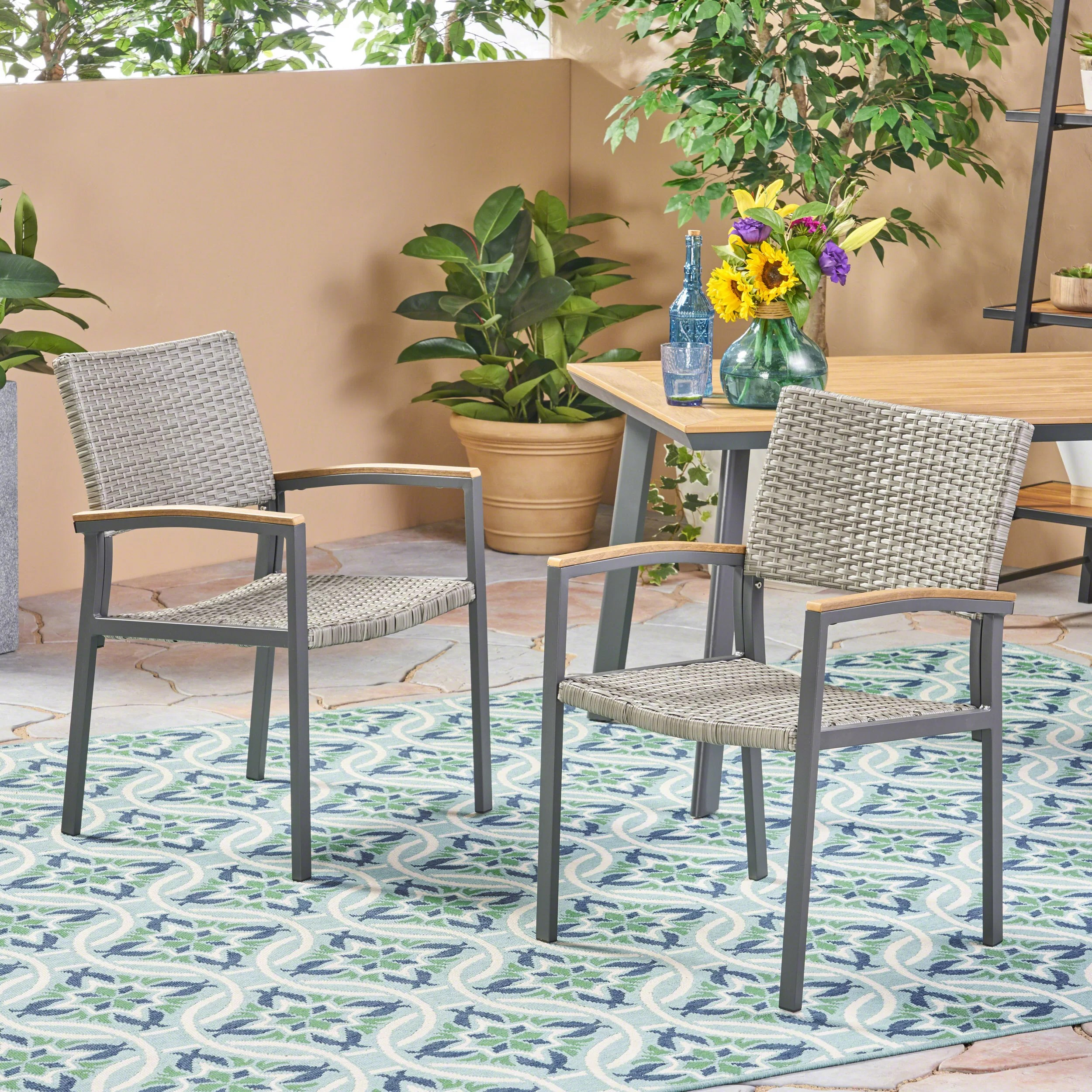 boone outdoor wicker patio dining chair