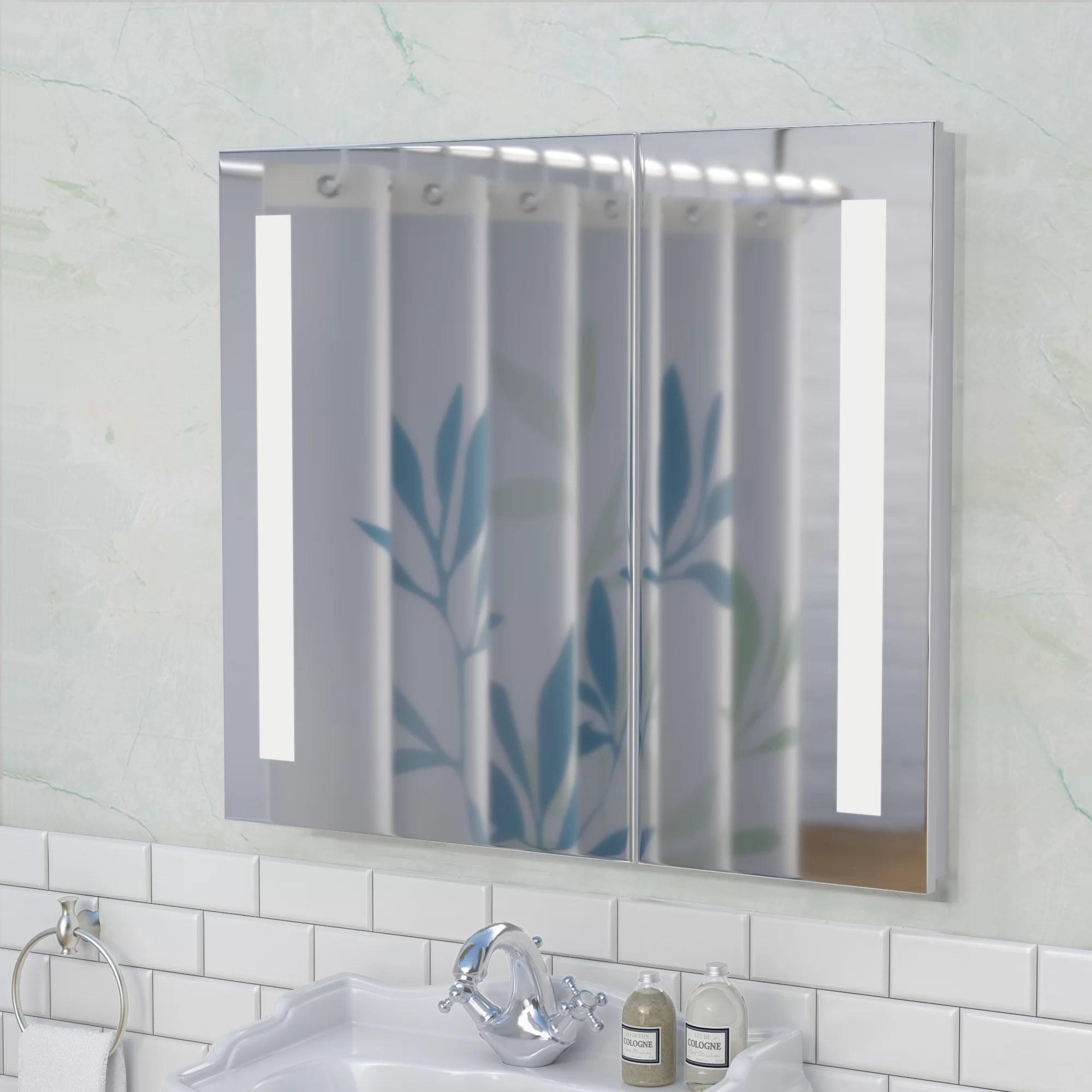 Orren Ellis Aldreth 31 5 X 27 75 Recessed Frameless Medicine Cabinet With 2 Adjustable Shelves And Led Lighting Reviews Wayfair