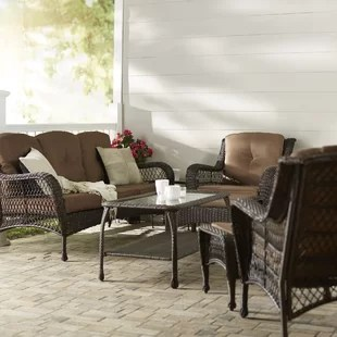 herrin 6 piece rattan sofa seating group with cushions