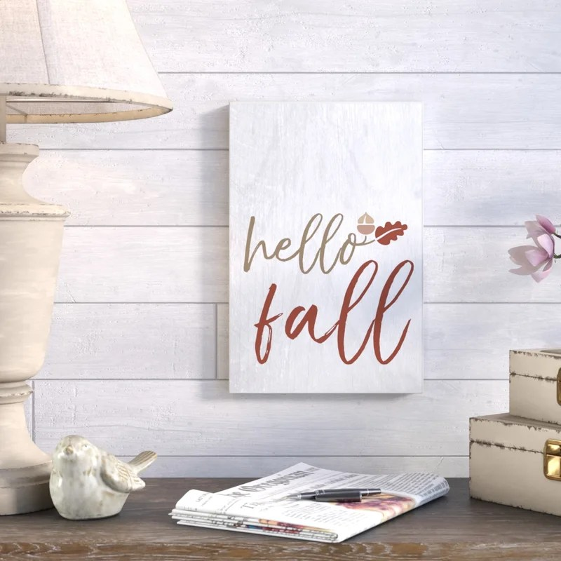 'Hello Fall' Textual Art