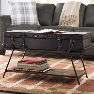 leather top coffee table | wayfair