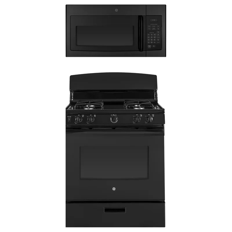 2 piece kitchen package with 30 freestanding gas range 30 over the range microwave