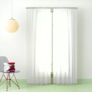 dorian solid color sheer rod pocket curtain panels set of 4