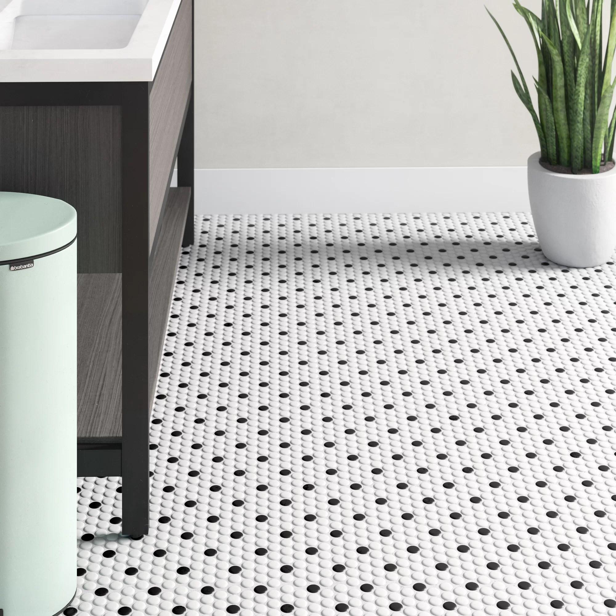 retro 1 x 1 porcelain penny round mosaic wall floor tile