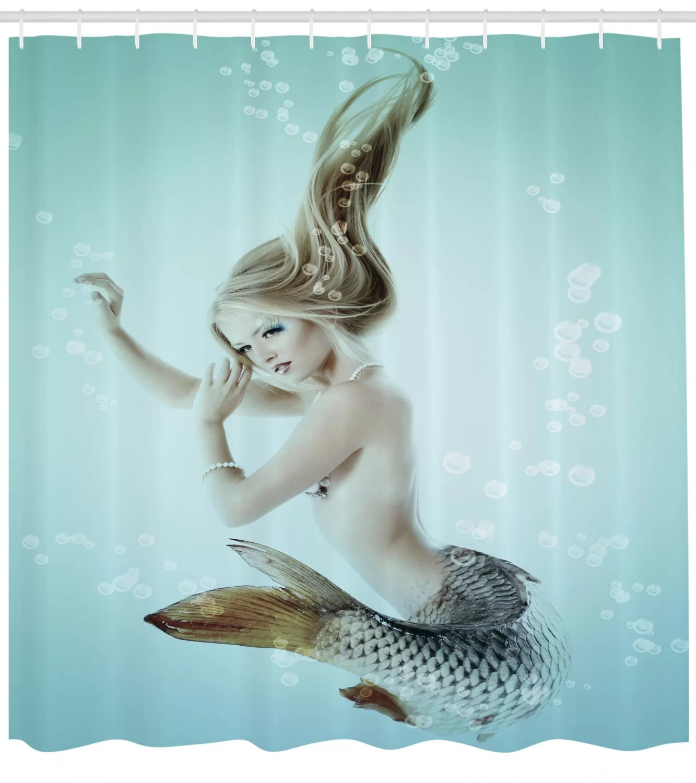 mermaid shower curtain set hooks