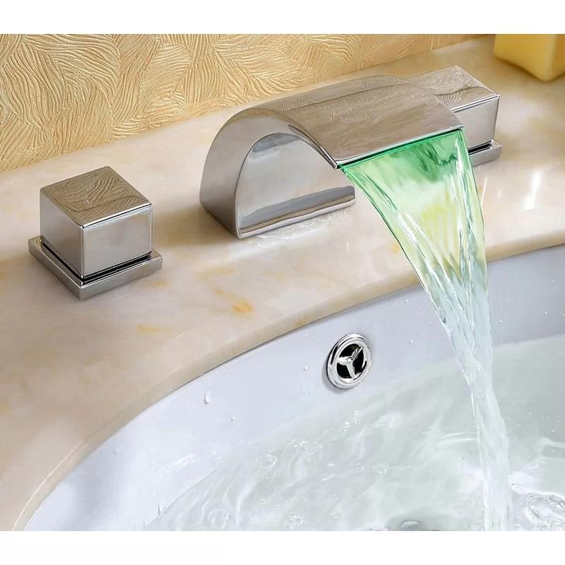 widespread led waterfall bathroom sink faucet