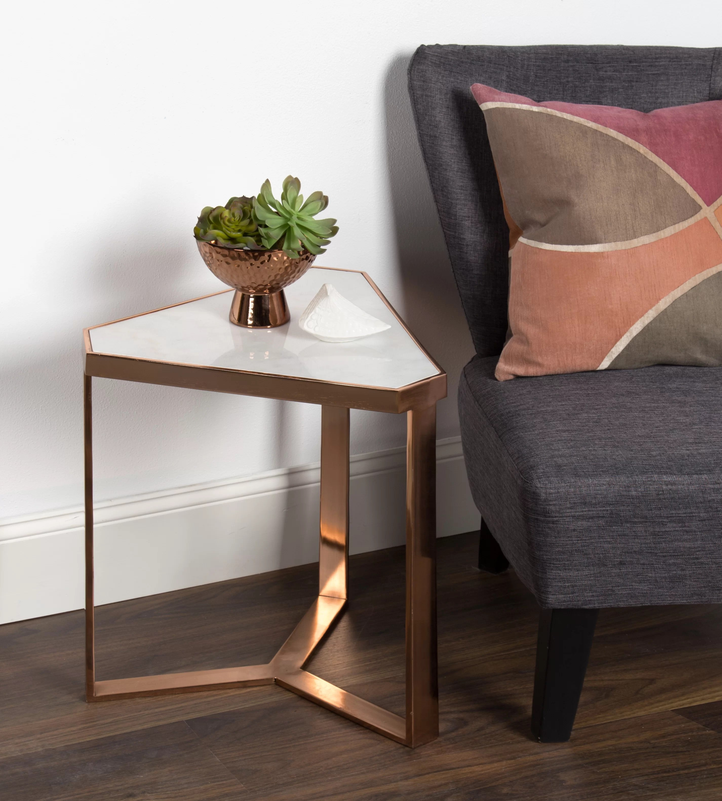 perera marble triangle end table