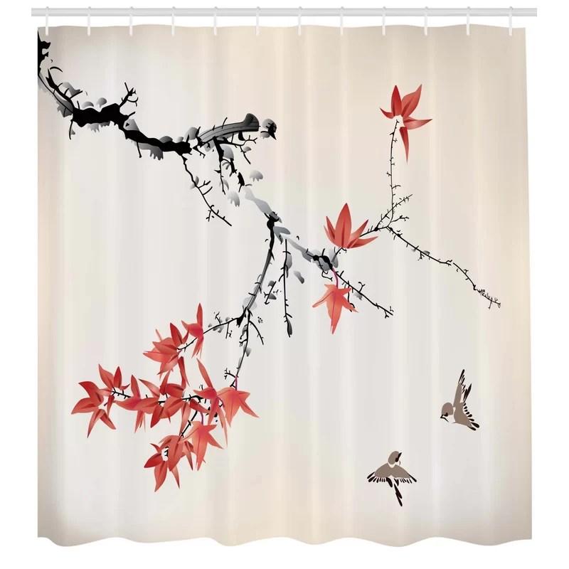 japanese shower curtain set hooks