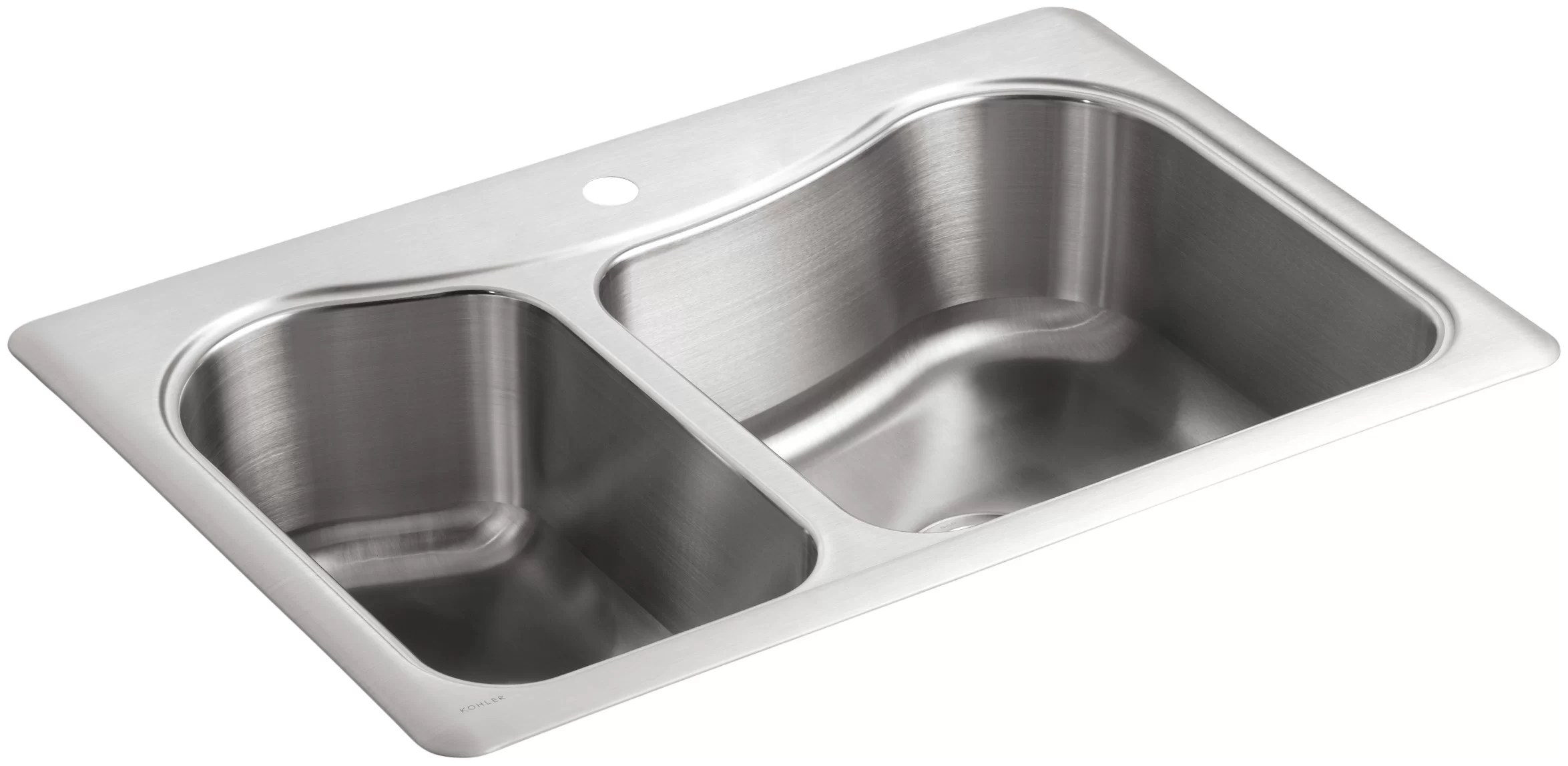 k 3361 1 na kohler staccato 33 l x 22 w drop in kitchen sink with single faucet hole reviews wayfair