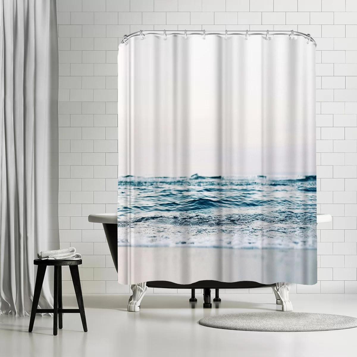 sisi and seb ocean wave single shower curtain