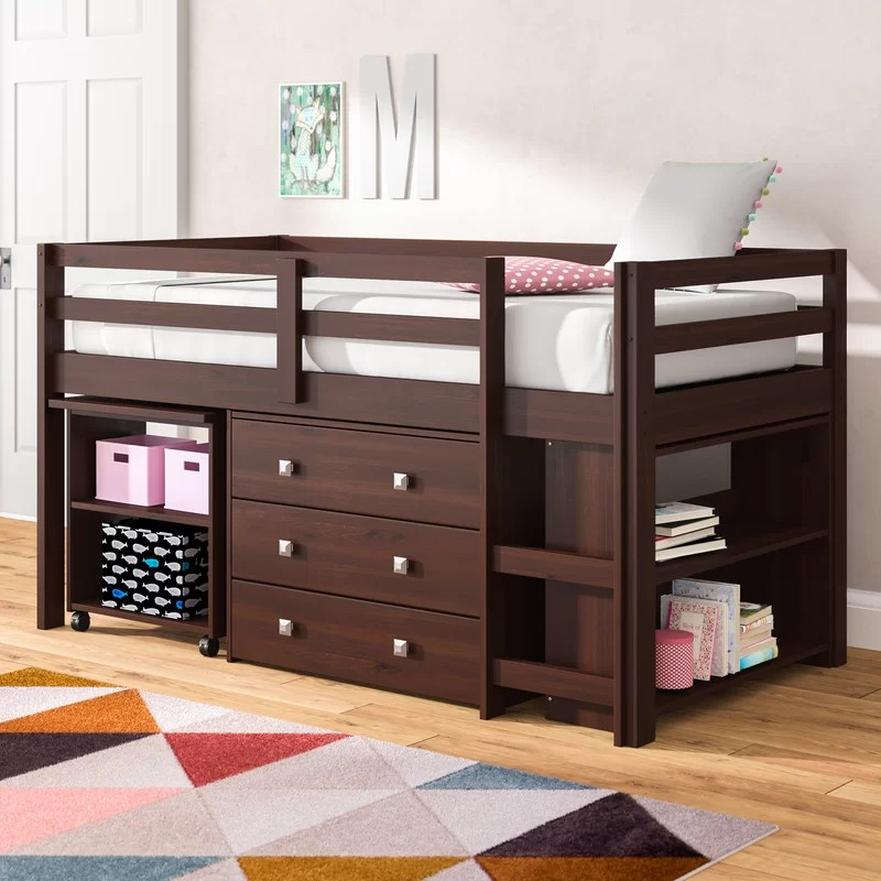 Senger Twin Low Loft Bed with Bookcase and Drawers